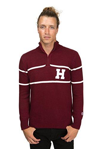 - Alma Mater NCAA Harvard Crimson Men's Mock Ribbed Quarter Zip, X-Large, Maroon