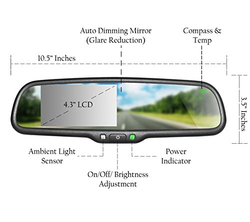 master tailgaters oem rear view mirror with ultra bright 4. Black Bedroom Furniture Sets. Home Design Ideas