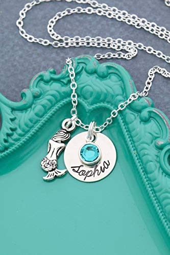 Personalized Mermaid Necklace - DII AAA - Birthday Party - Handstamped Handmade Jewelry - 5/8 Inch 15MM Silver Disc - Custom Chain Length Birthstone Crystal