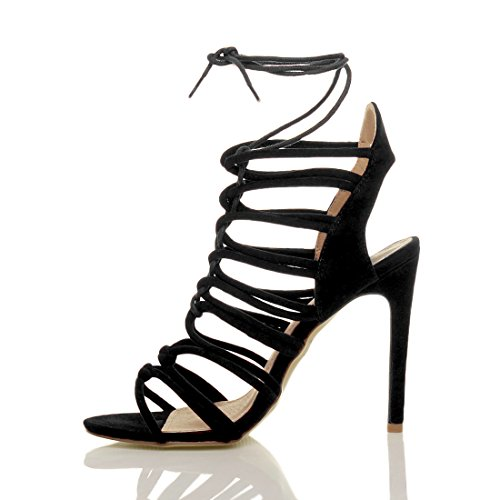 Lanières Sandales Peep Noir Talon Fête Pointure À Femmes Haute Daim Toe Chaussures Ajvani Lacets Fzq0S0