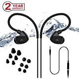 Avantree IPX7 Waterproof Earbuds for Swimming, Secure Fit Headphones for Running Runners, Sports, Diving, Surfing, Short Cord with Ear Hook and 6 Pair Soft Earbuds Tips (Not Bluetooth)