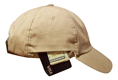 A Better Cap with a Built-in Wallet & Hidden Ear Covers! Zipper Wallet Holds Cash + Credit Cards. Ear Covers Conceal in The Cap or fold Down to Protect from Sun/Wind/rain/Cold. Color Khaki