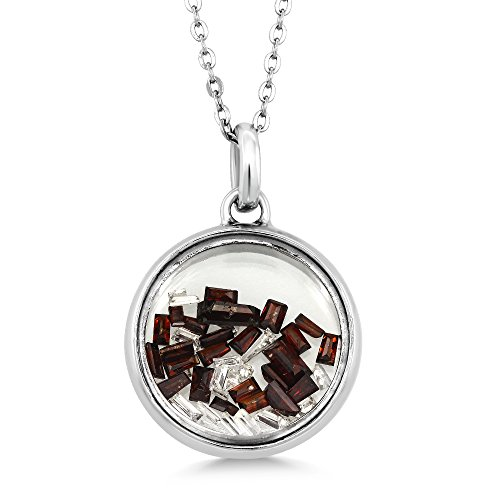 (Gem Stone King 1.00 Cttw White & Cognac Diamond 925 Sterling Silver Floating Pendant Necklace, 0.5 Inch With 18 Inch Chain)