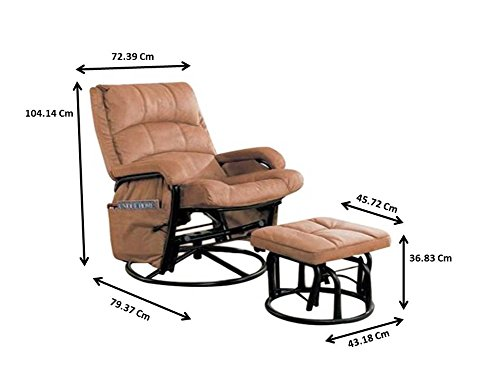 Glider Recliner with Matching Ottoman Brown and Black