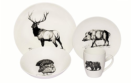 Coupe Soup Salad Bowl - Melange Coupe 16-Piece Porcelain Dinnerware Set (Wild Animals) | Service for 4 | Microwave, Dishwasher & Oven Safe | Dinner Plate, Salad Plate, Soup Bowl & Mug (4 Each)