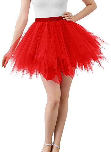 BIFINI Adult Women 80's Tutu Skirt Layered Tulle Petticoat Halloween Tutu Red