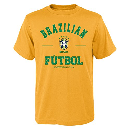 World Cup Soccer Brazil Youth Boys 8-20 Short Sleeve Traditional Tee, Large (14-16), (Adidas Brazil)