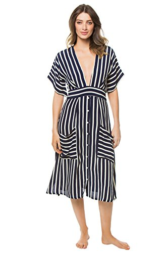 Faithfull The Brand Women's Mid Length Dress Swim Cover Up Mazur Stripe Print S by Faithfull
