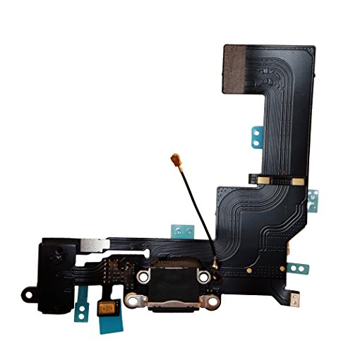 COHK USB Charging Port Dock Connector Flex Cable with Microphone and Headphone Audio Jack Replacement for iPhone SE Black