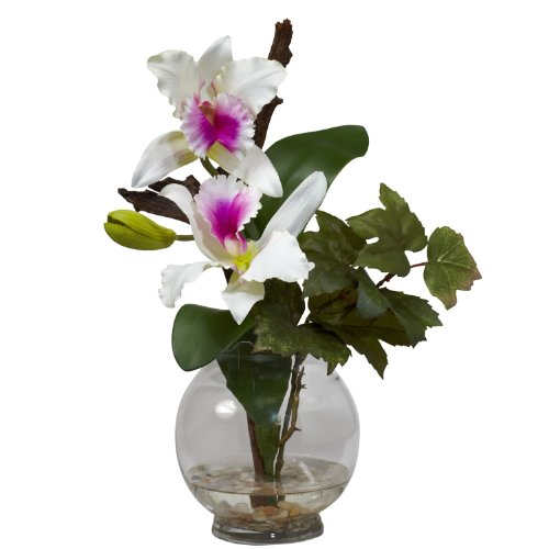 Nearly Natural 1275-WH Mini Cattleya with Fluted Vase Silk Flower (Mini Cattleya Orchid)