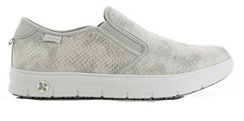 Oxypas Neu Fashion Berufsschuh komfortabeler Sneaker Selina aus Leder antistatisch (ESD) in vielen Farben Silber