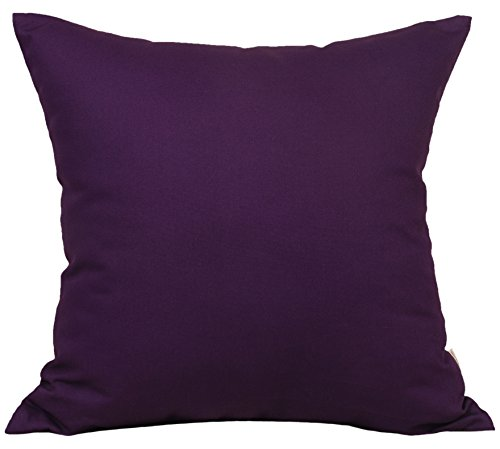 Purple Toss Pillow (TangDepot Cotton Solid Throw Pillow Covers, 22