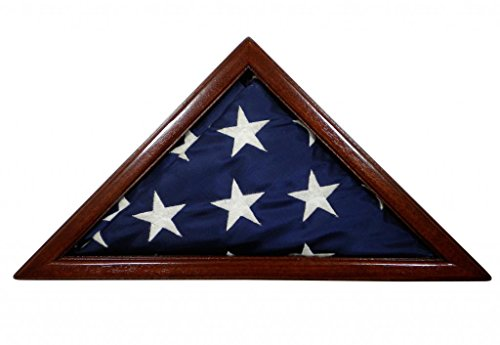 Solid Mahogany Flag Case for 3 x 5' Nylon Flag, Military Missions or State Capital Size, USA Made ()
