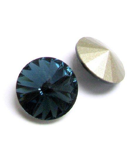 (2 pcs Swarovski 1122 Crystal Round Rivoli Stone Silver Foiled Montana 14mm / Findings / Crystallized Element )