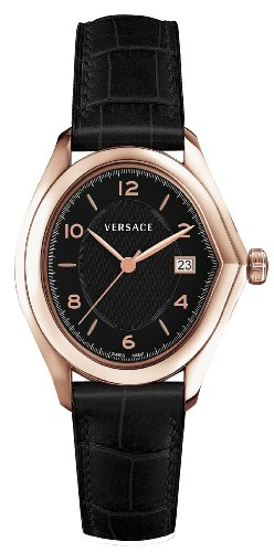 Versace V Master Men's Quartz Watch with Black Dial Analogue Display and Black Leather Strap 20Q80D009 S009