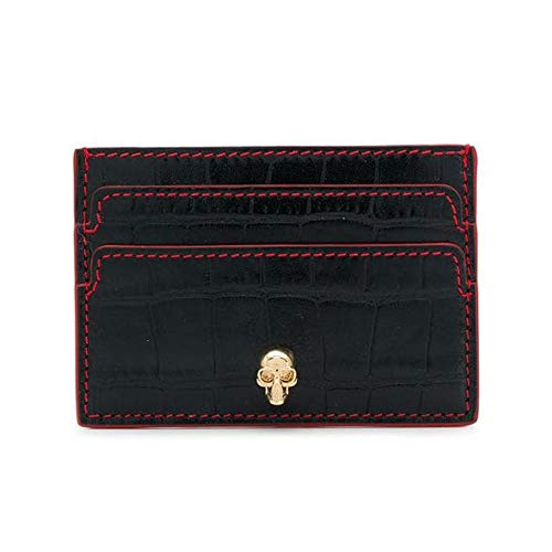 Alexander McQueen Croc Embossed Leather Card Holder Wallet