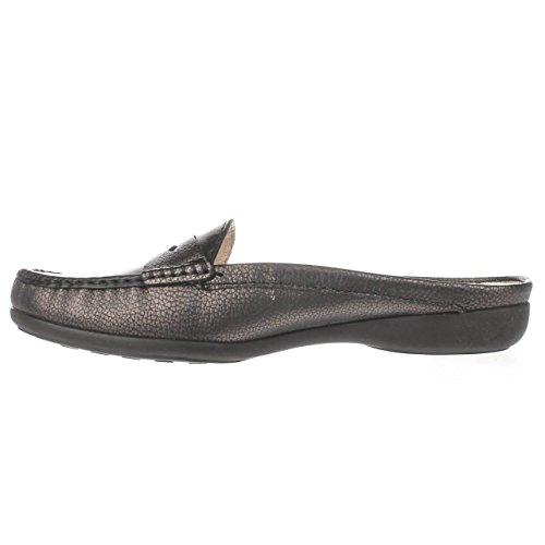 Women's Genuine Leather Made in Brazil Casual Union Mule Slip-On Marc Joseph NY Fashion Shoes Black Metallic Grainy ntvpZtsP