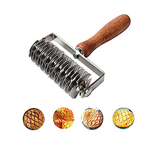 Stainless Steel Dough Lattice Dough Lattice Bread Dockers Noodle Maker Pizza Pastry Crust Roller Cutter Wooden Handle Kitchen Gadgets for - Pizza Roller Wooden