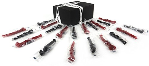 La Pipette Licorice Pipes 2-Flavor Variety: Ten 0.6 oz Individually Wrapped Packages Each of Black and Red in a BlackTie Box (20 Items Total) (Pipe Flavor)