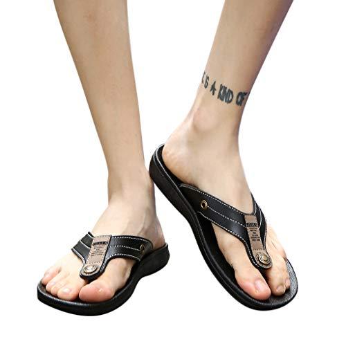 HTHJSCO Men's Classical Comfortable Flip-Flop, Casual Flats Platform Antiskid Slippers Beach Shoes Sandals (7.5, Black) from HTHJSCO