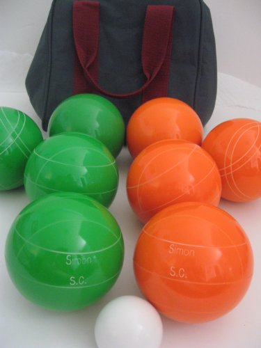 Premium Quality Engraved Bocce Package - 110mm Epco Green and Orange Balls with Engraving by Epco