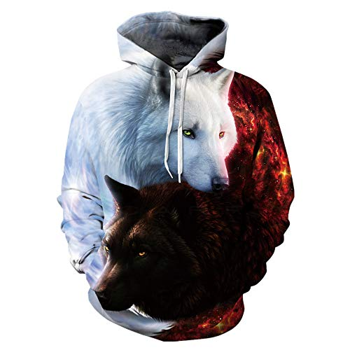 (Mclochy Couples 3D Printed Black White Wolf Hoodies Sweatshirt for Men Women (Asia XXL/3XL = US XL, Taichi Wolf))