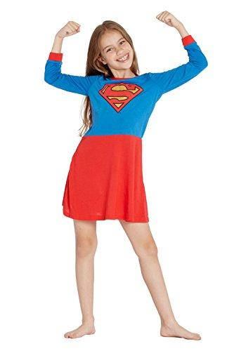 Supergirl Girls' Big Flyaway Superhero Costume Pajama Nightgown, Multi 7/8 ()