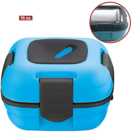Lunch Box ~ Pinnacle Insulated Leak Proof Lunch Box for Adults and Kids - Thermal Lunch Container with New Heat Release Valve, 16 oz - Blue (Best Container To Keep Food Hot)