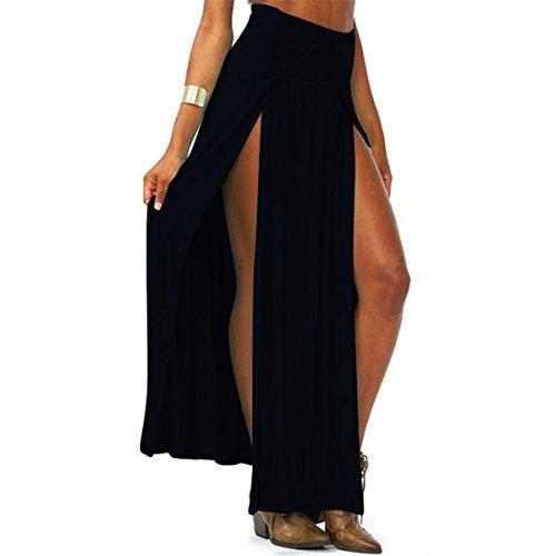 JAKY GLOBAL Women's Sarong High Waist Double Slit Open Maxi Beach Skirt Swimwear Cover Ups,Black,Medium Double Slit Skirt