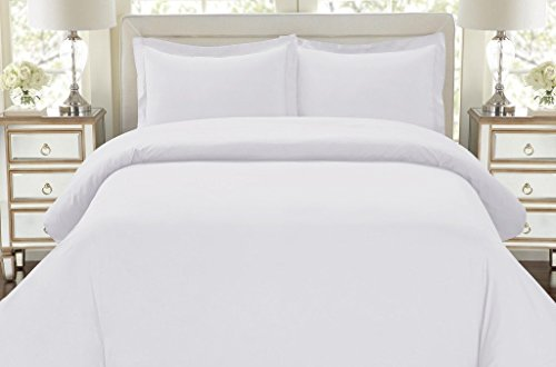 Hotel Luxury 3pc Duvet Cover Set-1500 Thread Count Egyptian Quality Ultra Silky Soft Top Quality Premium Bedding Collection -Queen Size White - Egyptian Cotton Comforter
