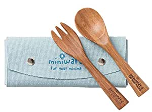 Miniware Natural Mao Bamboo Cutlery Set with Training Spoon, Fork, and Carry Case for Baby Toddler Kids – Promotes Self Feeding | Eco-Friendly Utensils | BPA Free | Modern and Simple Design