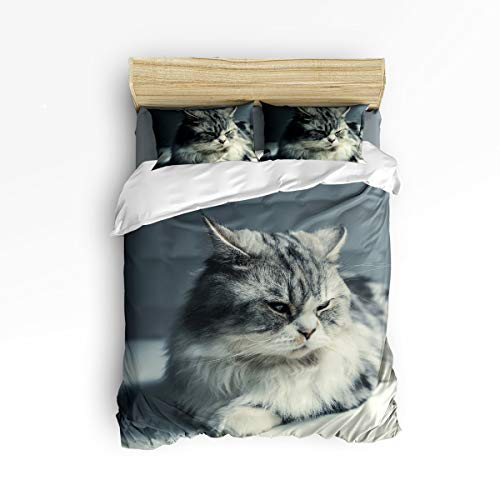 (YEHO Art Gallery Full Size 4 Piece Duvet Cover Sets for Kids Boys Girls,Cute Norwegian Forest Cat 3D Aniaml Pattern Bedding Set for Christmas,1 Flat Sheet 1 Duvet Cover and 2 Pillow Cases )