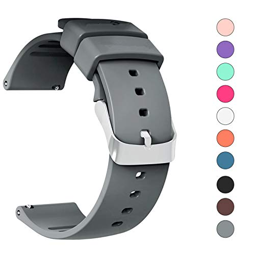JIELIELE Compatible 22mm Wristbands, Silicone Watch Band Straps Accessory for Samsung Gear S3 Frontier/Classic/Gear 2 / Galaxy Watch 46mm / Fossil Q Wander/Huawei Watch GT (Gray, 22mm) ()