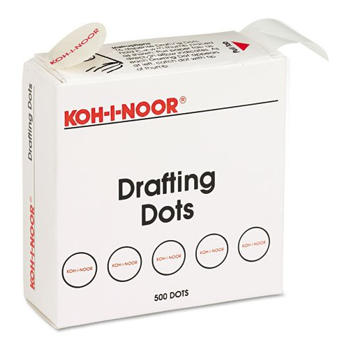 Koh-I-Noor Adhesive Drafting Dots with Dispenser, 7/8-Inch Diameter, White, 500 per Box (25900J01)
