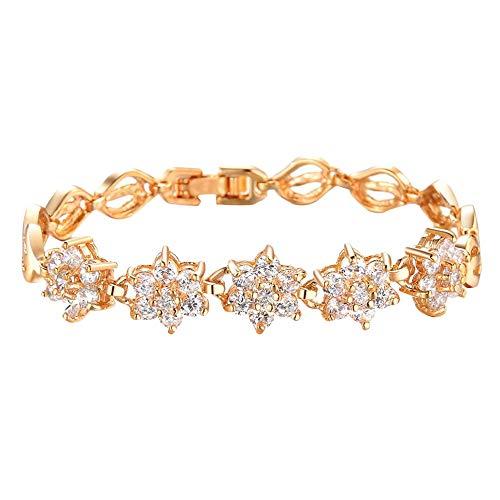 Qvwanle Fashion Fine Diamond Plated 18K Gold Wheat Handmade Trinkets Bracelet
