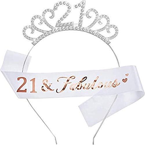Birthday Sash and Tiara set,Birthday Digital Crown and Fabulous Birthday Sash for Women Birthday Party Decorations 18 Years Old