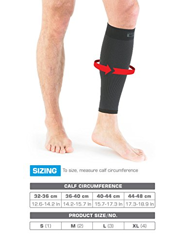 NEO G Airflow Calf/Shin Support - SMALL - Black - Medical Grade Quality sleeve, Multi Zone Compression, lightweight, breathable, HELPS strains, sprains, injured, weak calves/shins - Unisex Brace by Neo-G (Image #5)