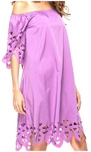 Color Coolred Out Pure Dress Purple Mid Breathable Collar Word Women Hollow fAwPwxOq