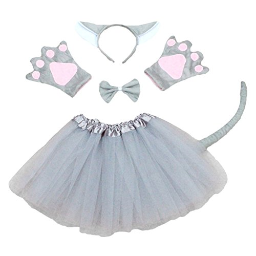 Cute Wolf Costumes (ACTLATI 6 Pcs/Set Cute Animal Headband Tail Bowtie Paws Child Kids Cosplay Party Kit Fancy Tutu Dress Grey Wolf)
