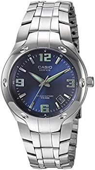 Casio EF106D2AV 100m Blue Edifice Silver Band Mens Dress Watch