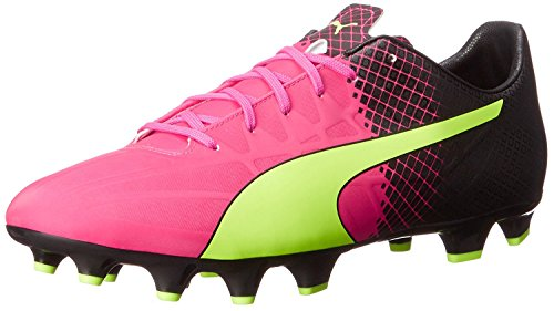 Puma Mens Evospeed 4.5 Tricks Fg Soccer Shoe, Pink Glow/Safety Yellow, 42 D(M) EU/8 D(M) UK