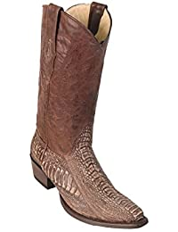 Men's Sinp Toe Genuine Leather Ostrich Leg Skin Western Boots - Exotic Skin Boots