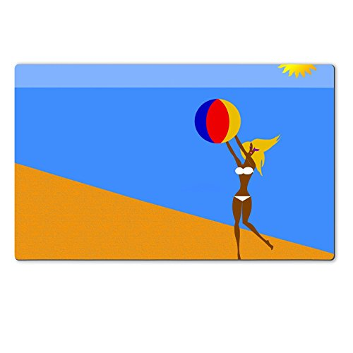 Luxlady Large TableMats Tan Bikini Blonde Girl On Beach With Beach Ball IMAGE ID 4268449