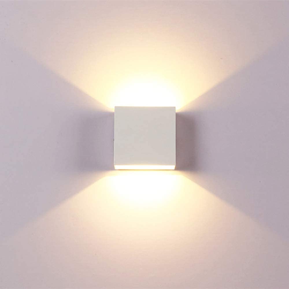 Glighone 2Pcs LED Wall Lights Indoor Up Down Wall Lamp 6W Modern Aluminum Wall Wash Light Wall Sconce Lighting for Living Room Energy Class A++ Bedroom Warm White Hallway Dining Room Stairs