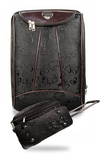 BLACK BROWN HEART ROLLING LUGGAGE SET — NOT BRIGHTON, JUST INSPIRED!, Bags Central
