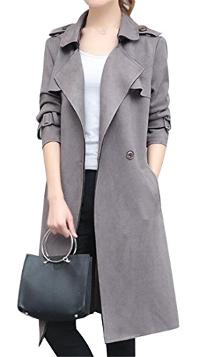 Fit Double-Breasted Belted Faux Suede Long Trenchcoat Outerwear Grey M ()