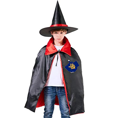 Kids Flag Map Of Quebec City Halloween Party Costumes Wizard Hat Cape Cloak Pointed Cap Grils Boys