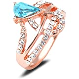 18K Rose Gold Plated Blue Crystal Rings Elegant Jewelry CZ Rhinestone Engagement LOVE STORY (9#)