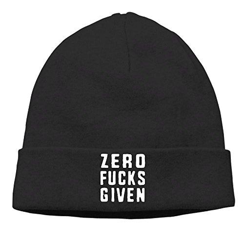 Richard Lyons Men Zero (No) Fucks Given Classic Hip-Hop Black Beanies Watch Cap