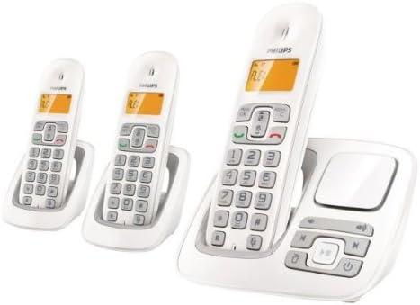 Philips CD195 TRIO - Juego de 3 teléfonos fijos inalámbricos (con pantalla y contestador), color blanco: Amazon.es: Electrónica